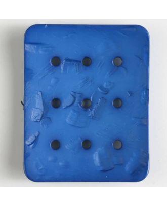 Polyamidknopf rechteckig mit 9 Löchern zur Individualisierung mit Garn - Größe: 54mm - Farbe: blau - Art.Nr. 400238
