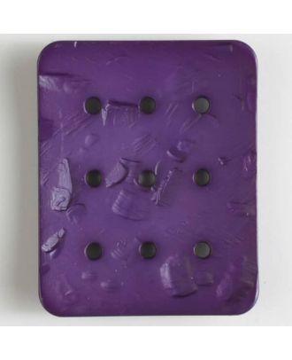 Polyamidknopf rechteckig mit 9 Löchern zur Individualisierung mit Garn - Größe: 54mm - Farbe: lila - Art.Nr. 400239