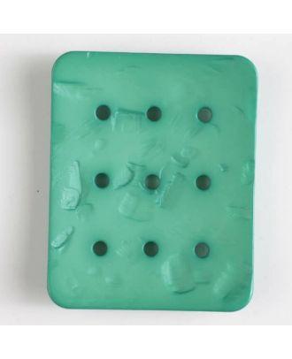 Polyamidknopf rechteckig mit 9 Löchern zur Individualisierung mit Garn - Größe: 54mm - Farbe: grün - Art.Nr. 400241