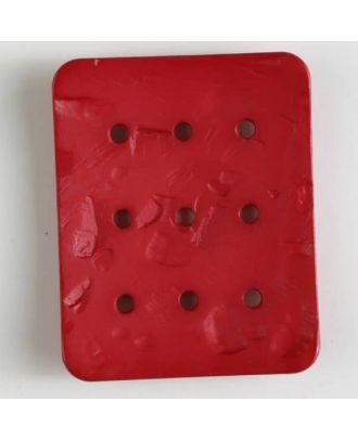Polyamidknopf rechteckig mit 9 Löchern zur Individualisierung mit Garn - Größe: 54mm - Farbe: rot - Art.Nr. 400242