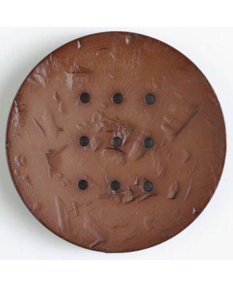 Polyamidknopf rund mit 9 Löchern zum Individualisieren mit Garn - Größe: 60mm - Farbe: braun - Art.Nr. 410196