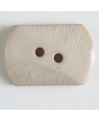 Polyamidknopf mit teilweise schrägen Rillen mit 2 Löchern - Größe: 25mm - Farbe: beige - Art.Nr. 317602