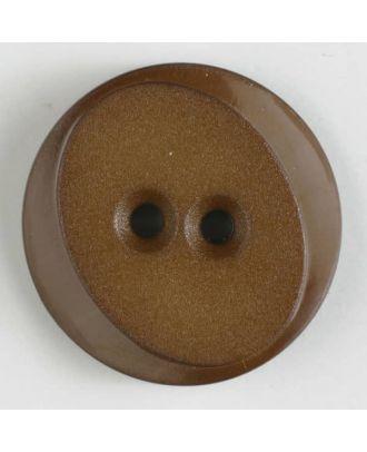 Polyamidknopf rund mit ovalem Einsatz mit 2 Löchern - Größe: 18mm - Farbe: braun - Art.Nr. 267619