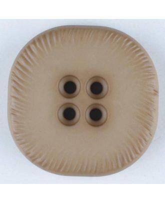 Polyamidknopf, viereckig, 4-Löcher optisch dunkler abgesetzt - Größe: 23mm - Farbe: beige - Art.Nr. 312708