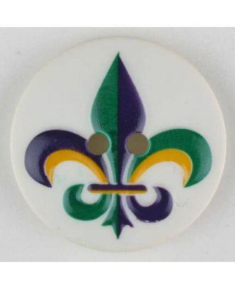 Polyamidknopf Fleur de Lis, bedruckt, 2-loch - Größe: 30mm - Farbe: grün - Art.Nr. 370688