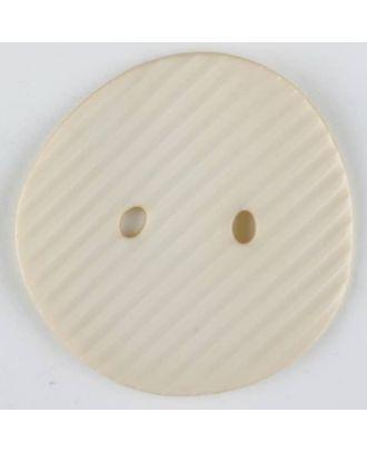 Polyamidknopf schräg schraffiert,  2-loch - Größe: 25mm - Farbe: beige - Art.Nr. 313714