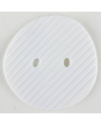 Polyamidknopf schräg schraffiert,  2-loch - Größe: 25mm - Farbe: weiss - Art.Nr. 310885