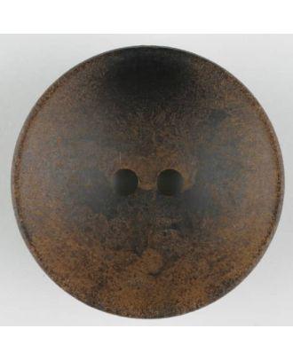 Holzknopf, Oberfläche mit Rost ähnelnder Patina, rund, 2 loch - Größe: 34mm - Farbe: braun - Art.Nr. 370726