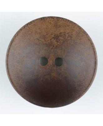 Holzknopf, Oberfläche mit Rost ähnelnder Patina, rund, 2 loch - Größe: 34mm - Farbe: braun - Art.Nr. 370728