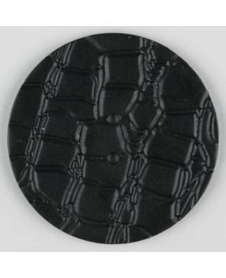 Polyamidknopf mit interessantem Reptilienmuster,  2-loch - Größe: 32mm - Farbe: schwarz - Art.Nr. 370708