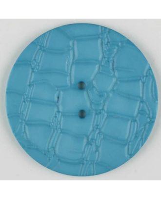Polyamidknopf mit interessantem Reptilienmuster,  2-loch - Größe: 32mm - Farbe: blau - Art.Nr. 373719