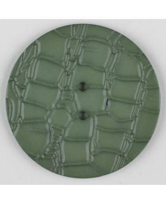 Polyamidknopf mit interessantem Reptilienmuster,  2-loch - Größe: 32mm - Farbe: grün - Art.Nr. 373726