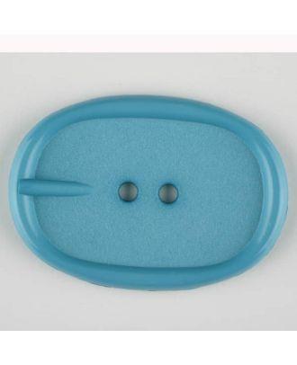 Polyamidknopf im Gürtelschnallenlook,  2-loch - Größe: 45mm - Farbe: blau - Art.Nr. 423706