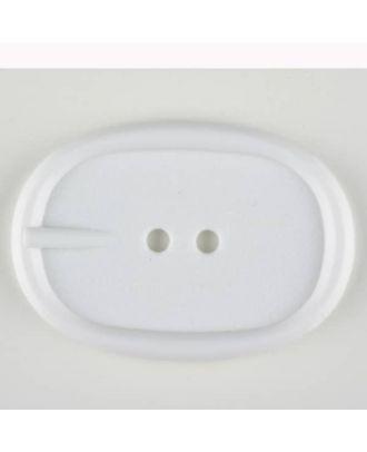 Polyamidknopf im Gürtelschnallenlook,  2-loch - Größe: 45mm - Farbe: weiss - Art.Nr. 420074