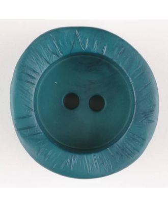 Polyamidknopf mit charaktervoller Struktur und tiefem Tellerrand, rund, 2 loch - Größe: 30mm - Farbe: grün - Art.Nr. 344718