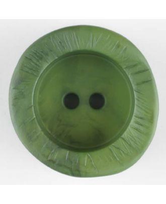 Polyamidknopf mit charaktervoller Struktur und tiefem Tellerrand, rund, 2 loch - Größe: 30mm - Farbe: grün - Art.Nr. 344719