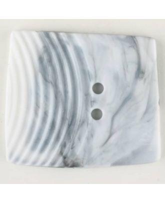 Polyamidknopf, marmoriert, eine Hälfte mit Rillen, die andere glatt, quadratisch, 2 loch - Größe: 38mm - Farbe: grau - Art.Nr. 370740