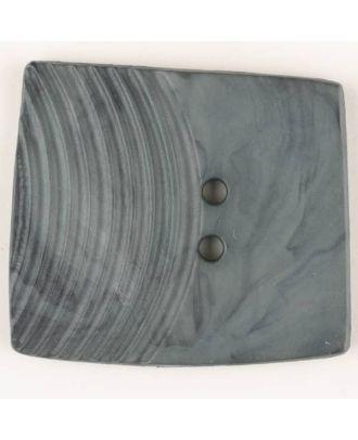 Polyamidknopf, marmoriert, eine Hälfte mit Rillen, die andere glatt, quadratisch, 2 loch - Größe: 38mm - Farbe: grau - Art.Nr. 375700