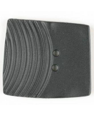 Polyamidknopf, marmoriert, eine Hälfte mit Rillen, die andere glatt, quadratisch, 2 loch - Größe: 38mm - Farbe: schwarz - Art.Nr. 370741