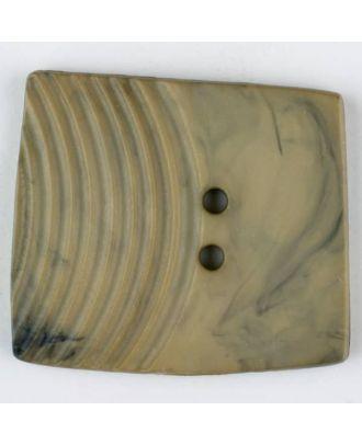 Polyamidknopf, marmoriert, eine Hälfte mit Rillen, die andere glatt, quadratisch, 2 loch - Größe: 38mm - Farbe: beige - Art.Nr. 375701