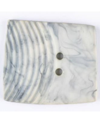 Polyamidknopf, marmoriert, eine Hälfte mit Rillen, die andere glatt, quadratisch, 2 loch - Größe: 38mm - Farbe: beige - Art.Nr. 375702