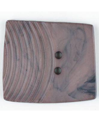 Polyamidknopf, marmoriert, eine Hälfte mit Rillen, die andere glatt, quadratisch, 2 loch - Größe: 38mm - Farbe: braun - Art.Nr. 375703