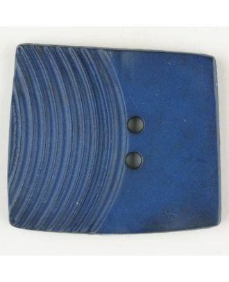 Polyamidknopf, marmoriert, eine Hälfte mit Rillen, die andere glatt, quadratisch, 2 loch - Größe: 38mm - Farbe: blau - Art.Nr. 375705