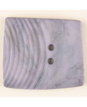 Polyamidknopf, marmoriert, eine Hälfte mit Rillen, die andere glatt, quadratisch, 2 loch - Größe: 38mm - Farbe: lila - Art.Nr. 375706