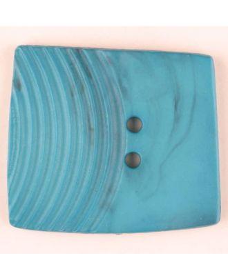 Polyamidknopf, marmoriert, eine Hälfte mit Rillen, die andere glatt, quadratisch, 2 loch - Größe: 38mm - Farbe: grün - Art.Nr. 375708