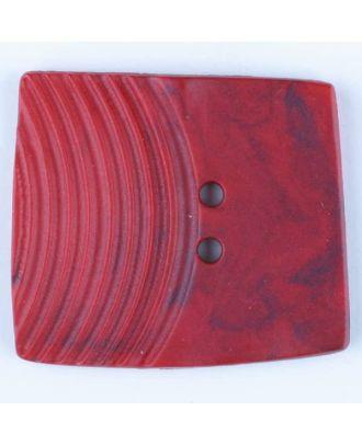 Polyamidknopf, marmoriert, eine Hälfte mit Rillen, die andere glatt, quadratisch, 2 loch - Größe: 38mm - Farbe: rot - Art.Nr. 375709