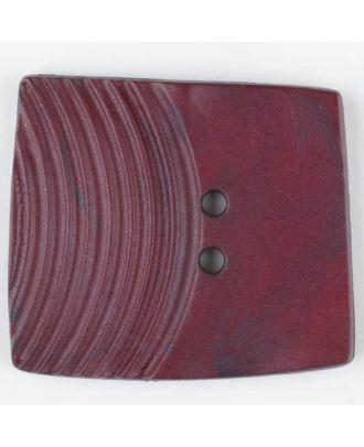 Polyamidknopf, marmoriert, eine Hälfte mit Rillen, die andere glatt, quadratisch, 2 loch - Größe: 38mm - Farbe: weinrot - Art.Nr. 375710