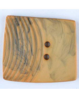 Polyamidknopf, marmoriert, eine Hälfte mit Rillen, die andere glatt, quadratisch, 2 loch - Größe: 38mm - Farbe: orange - Art.Nr. 375711