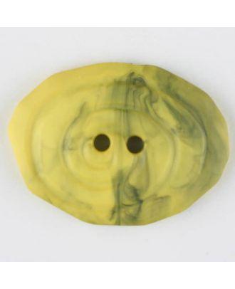 Polyamidknopf, marmoriert, oval, 2 loch - Größe: 25mm - Farbe: gelb - Art.Nr. 315754