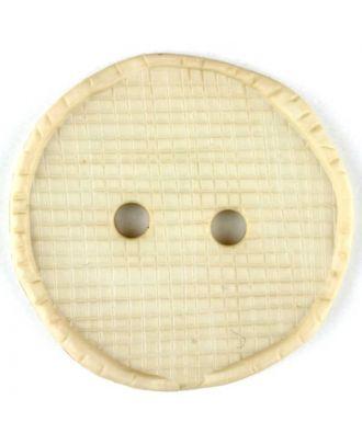 Polyamidknopf glänzend mit Vertiefungen, rund, 2 Loch - Größe: 15mm - Farbe: beige - Art.Nr. 265733