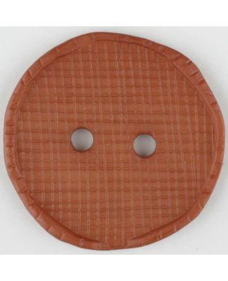 Polyamidknopf glänzend mit Vertiefungen, rund, 2 Loch - Größe: 32mm - Farbe: braun - Art.Nr. 375715