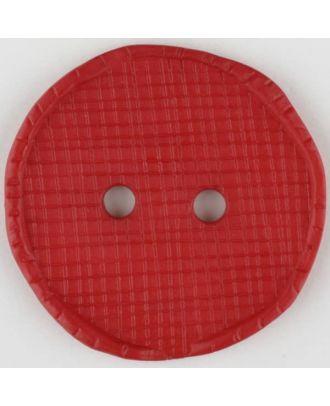 Polyesterknopf glänzend, mit Vertiefungen, rund, 2 Loch - Größe: 32mm - Farbe: rot - Art.Nr. 375722