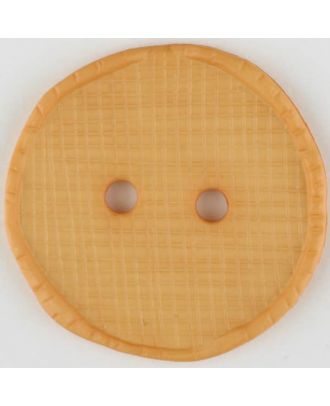 Polyesterknopf glänzend, mit Vertiefungen, rund, 2 Loch -  Größe: 15mm - Farbe: orange - Art.Nr. 265742