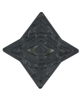 Polyamidknopf mit unebener Oberfläche und pfeilförmigen Löchern, kantig, 2 loch - Größe: 40mm - Farbe: schwarz - Art.Nr. 400256