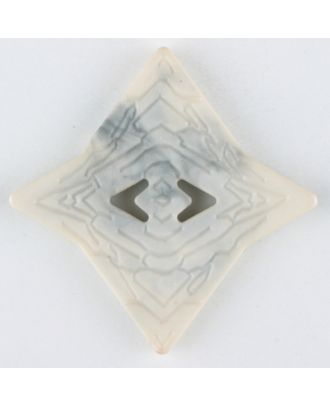 Polyamidknopf mit unebener Oberfläche und pfeilförmigen Löchern, kantig, 2 loch - Größe: 40mm - Farbe: beige - Art.Nr. 406700