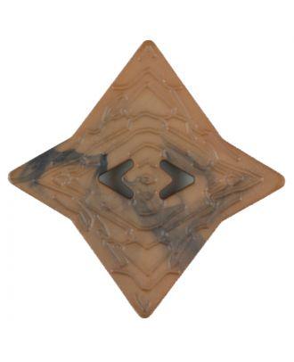 Polyamidknopf mit unebener Oberfläche und pfeilförmigen Löchern, kantig, 2 loch - Größe: 40mm - Farbe: beige - Art.Nr. 406701