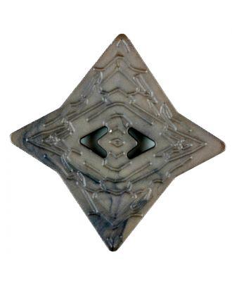 Polyamidknopf mit unebener Oberfläche und pfeilförmigen Löchern, kantig, 2 loch - Größe: 40mm - Farbe: braun - Art.Nr. 406703
