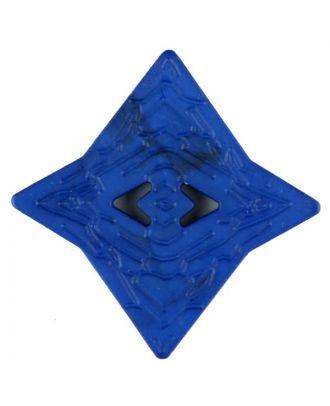 Polyamidknopf mit unebener Oberfläche und pfeilförmigen Löchern, kantig, 2 loch - Größe: 40mm - Farbe: blau - Art.Nr. 406704