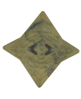 Polyamidknopf mit unebener Oberfläche und pfeilförmigen Löchern, kantig, 2 loch - Größe: 40mm - Farbe: grün - Art.Nr. 406707