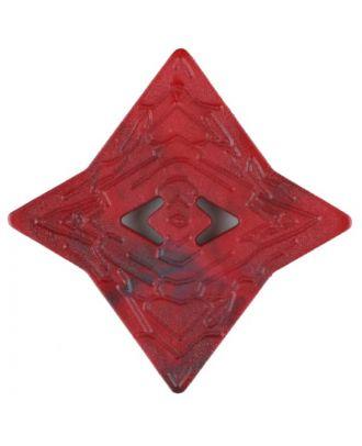 Polyamidknopf mit unebener Oberfläche und pfeilförmigen Löchern, kantig, 2 loch - Größe: 40mm - Farbe: rot - Art.Nr. 406708