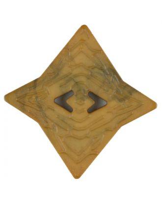 Polyamidknopf mit unebener Oberfläche und pfeilförmigen Löchern, kantig, 2 loch - Größe: 40mm - Farbe: gelb - Art.Nr. 406709