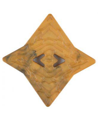 Polyamidknopf mit unebener Oberfläche und pfeilförmigen Löchern, kantig, 2 loch - Größe: 40mm - Farbe: gelb - Art.Nr. 406710