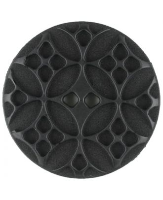Polyamidknopf mit rautenförmigen Ornamenten, rund, 2 loch - Größe: 28mm - Farbe: schwarz - Art.Nr. 331046