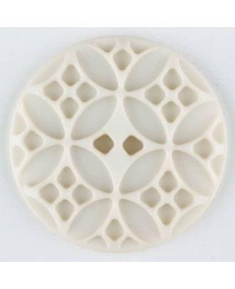 Polyamidknopf mit rautenförmigen Ornamenten, rund, 2 loch - Größe: 28mm - Farbe: beige - Art.Nr. 336710