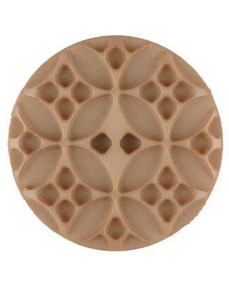 Polyamidknopf mit rautenförmigen Ornamenten, rund, 2 loch - Größe: 34mm - Farbe: beige - Art.Nr. 376711