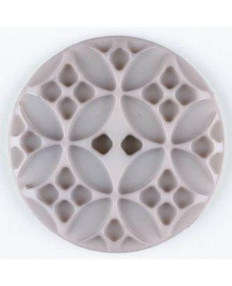 Polyamidknopf mit rautenförmigen Ornamenten, rund, 2 loch - Größe: 20mm - Farbe: beige - Art.Nr. 266702